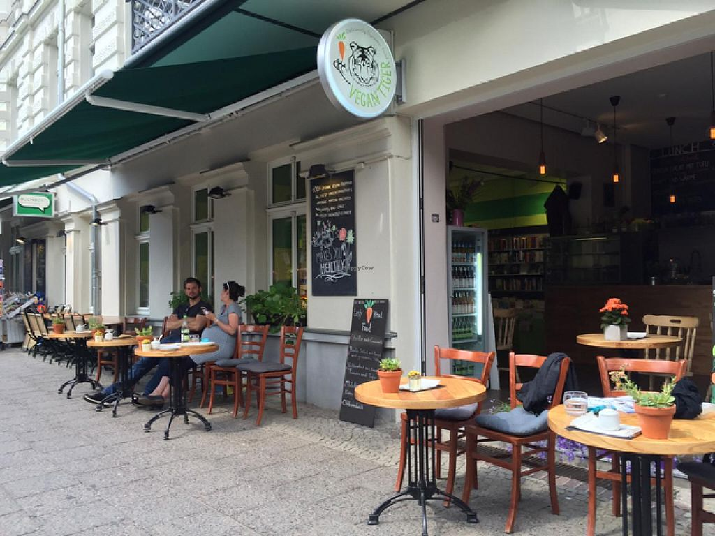 """Photo of Vegan Tiger  by <a href=""""/members/profile/Ruffvegan"""">Ruffvegan</a> <br/>outside seating <br/> June 29, 2015  - <a href='/contact/abuse/image/59123/107621'>Report</a>"""