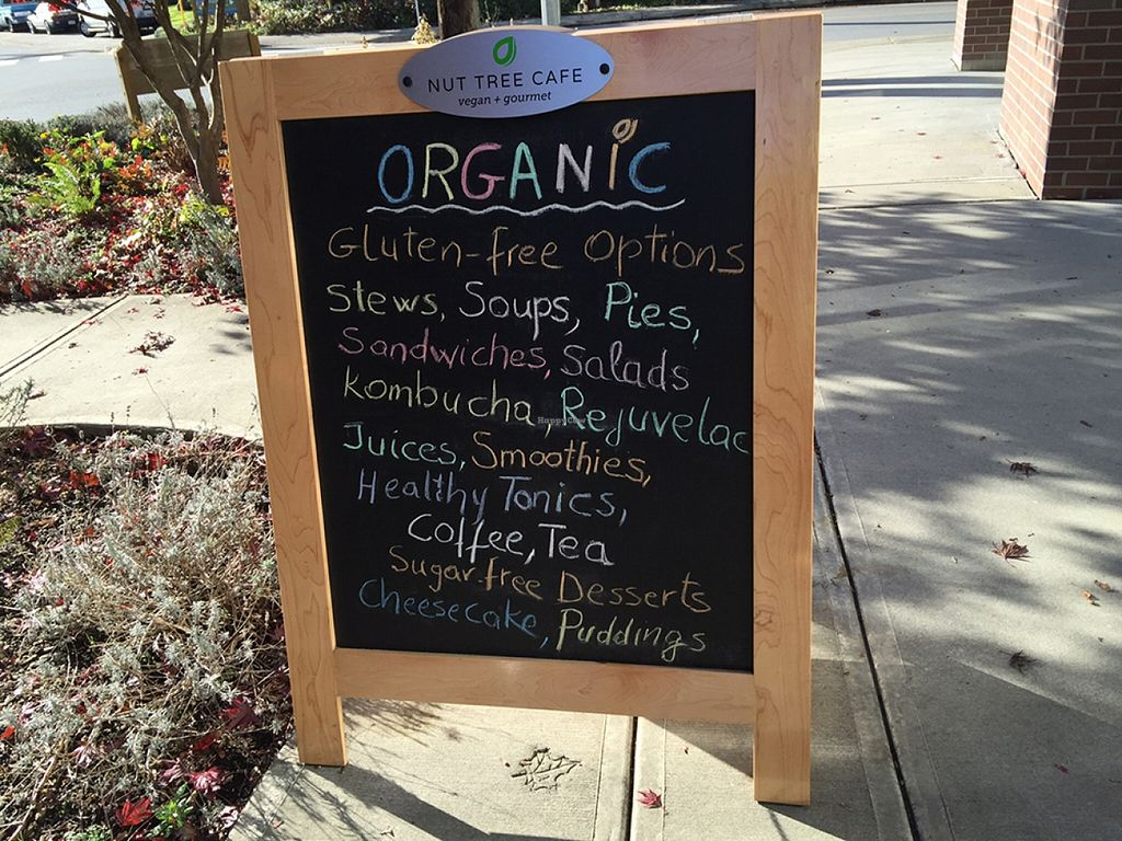 "Photo of CLOSED: Nut Tree Cafe  by <a href=""/members/profile/Wheat-free%20Vegan"">Wheat-free Vegan</a> <br/>Nut Tree Cafe sidewalk sign <br/> November 13, 2015  - <a href='/contact/abuse/image/59169/124896'>Report</a>"