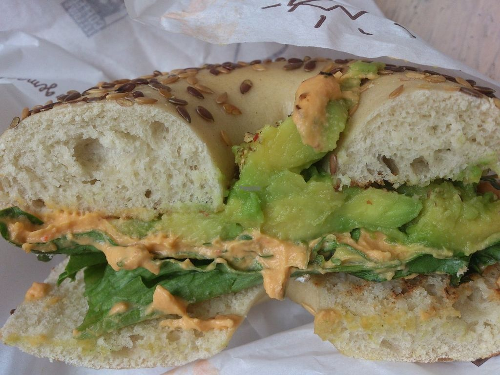 """Photo of Coffee Fellows - Kaiserstr  by <a href=""""/members/profile/Tank242"""">Tank242</a> <br/>Yummy vegan Avocado Hummus Bagel <br/> September 1, 2016  - <a href='/contact/abuse/image/59173/172808'>Report</a>"""