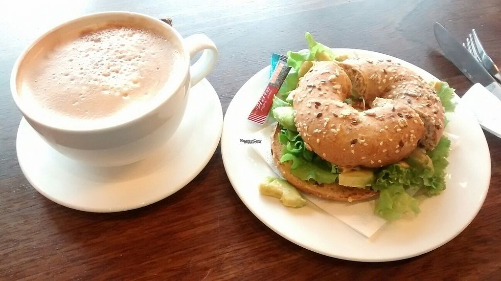 """Photo of Coffee Fellows - Eastgate  by <a href=""""/members/profile/Ricardo"""">Ricardo</a> <br/>Avocado Bagel w/ Caffe Latte <br/> January 13, 2017  - <a href='/contact/abuse/image/59175/211716'>Report</a>"""