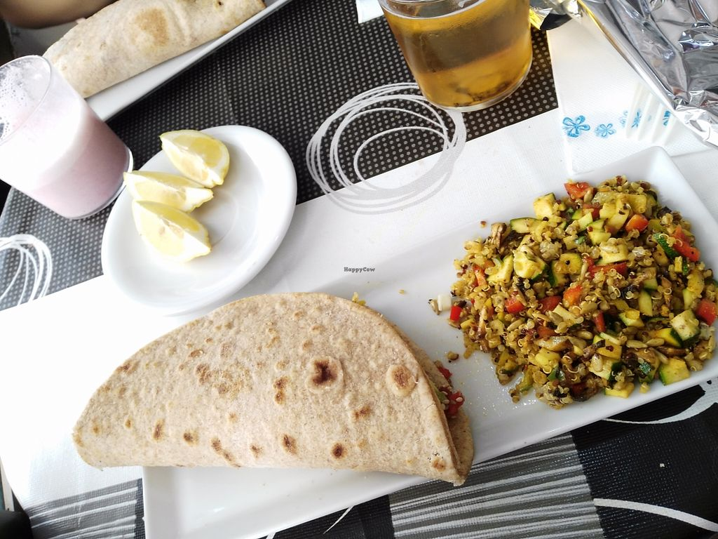 """Photo of CLOSED: BioKarma  by <a href=""""/members/profile/Meibluemoon"""">Meibluemoon</a> <br/>Vegan piadina with quinoa salad <br/> October 3, 2015  - <a href='/contact/abuse/image/59187/120005'>Report</a>"""