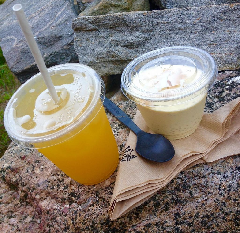 """Photo of Amor - Catering  by <a href=""""/members/profile/Jeopardy"""">Jeopardy</a> <br/>Passion Fruit & Mango Lemonade next to Aloha Chia Pudding <br/> July 12, 2015  - <a href='/contact/abuse/image/59195/109075'>Report</a>"""