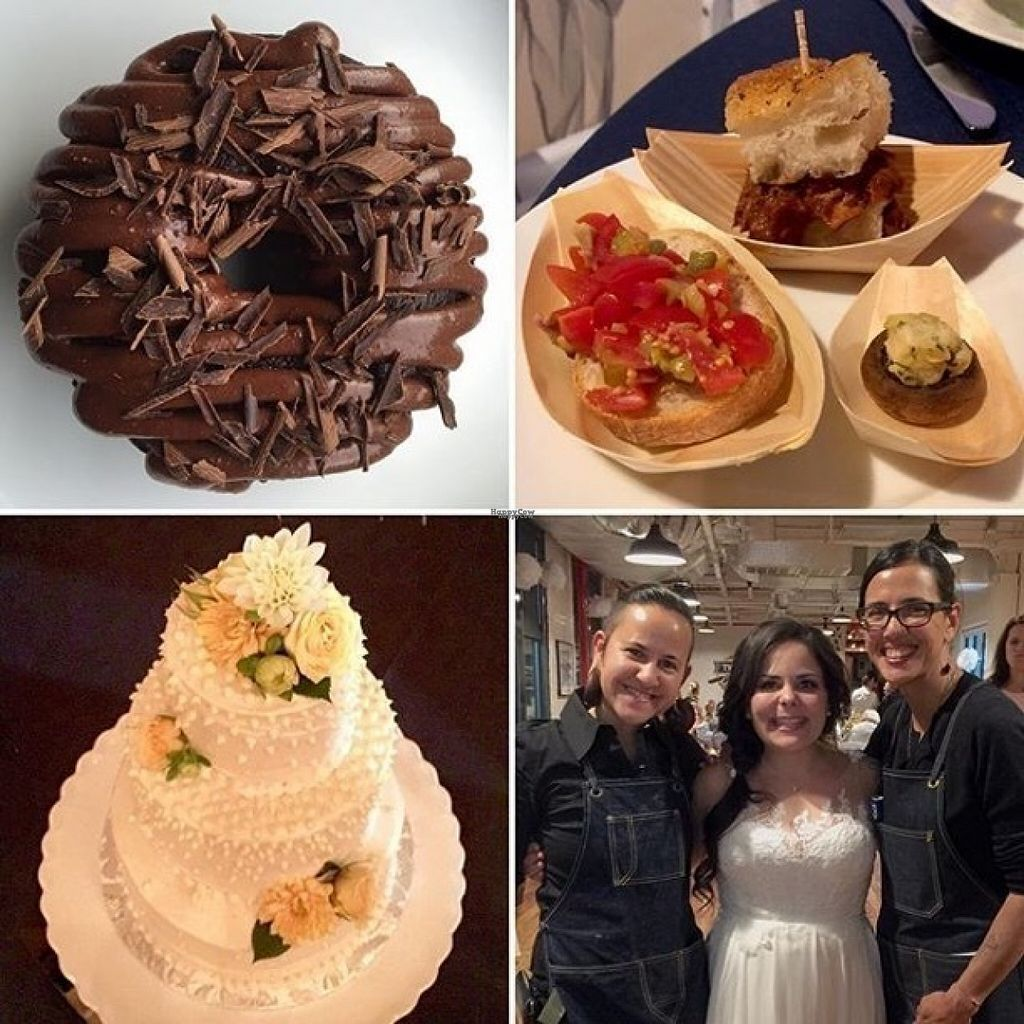 """Photo of Amor - Catering  by <a href=""""/members/profile/petitefrenchiefry"""">petitefrenchiefry</a> <br/>Food from my wedding (clockwise from top-left): chocolate donut; bruschetta, pulled pork slider, and stuffed mushroom; coconut wedding cake; the owners (Mal and Gabriella) and I <br/> August 15, 2016  - <a href='/contact/abuse/image/59195/169004'>Report</a>"""