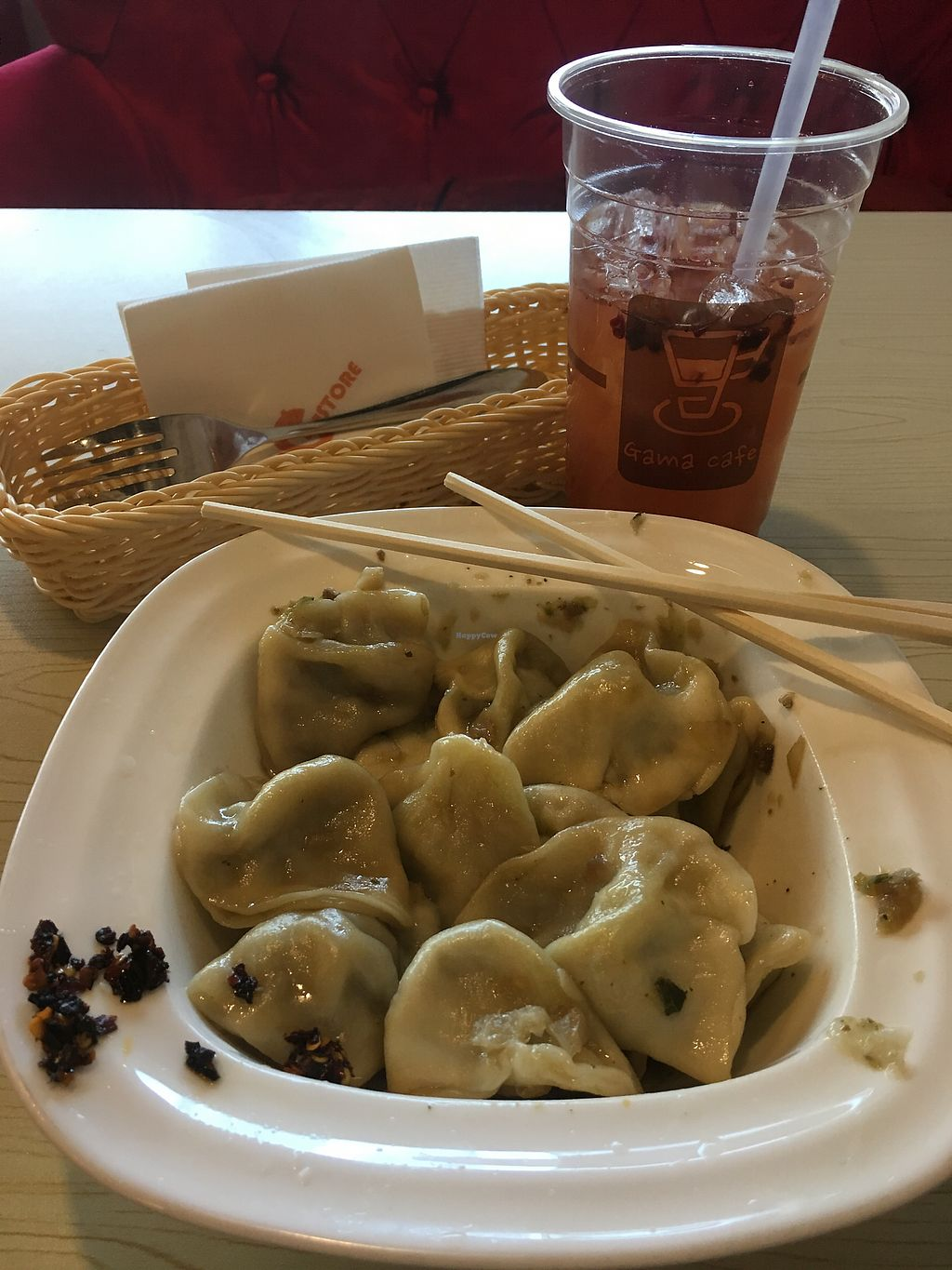 """Photo of Gama Cafe  by <a href=""""/members/profile/loopyandlumpy"""">loopyandlumpy</a> <br/>Vegan Cabbage and Mushroom handmade Dumplings <br/> January 18, 2018  - <a href='/contact/abuse/image/59270/348083'>Report</a>"""