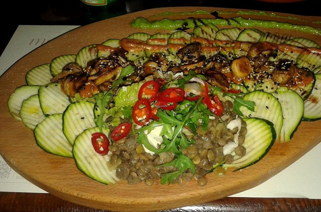 """Photo of Matoni  by <a href=""""/members/profile/zekorupert"""">zekorupert</a> <br/>Zucchini carpaccio with brown lentil, grilled mushrooms, mango sauce and pea pesto <br/> June 9, 2015  - <a href='/contact/abuse/image/59272/236060'>Report</a>"""