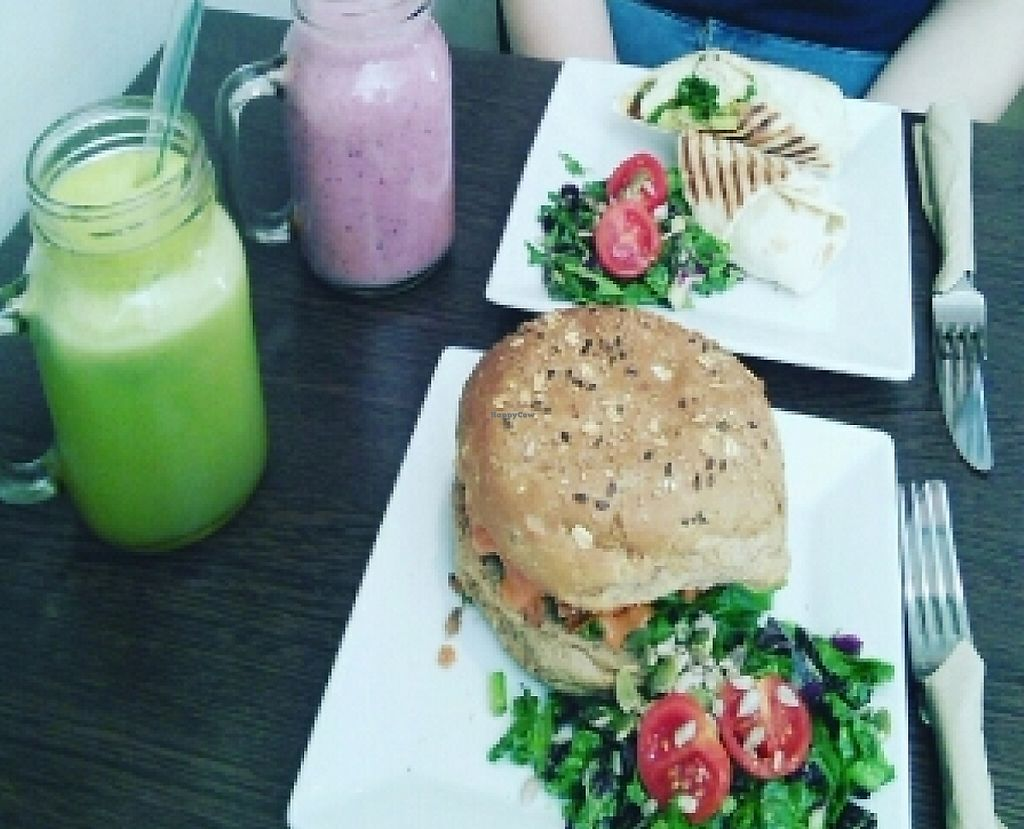 """Photo of CLOSED: The Grassy Hopper   by <a href=""""/members/profile/Kindbare"""">Kindbare</a> <br/>sweet patato and black bean burger & avocado wrap  <br/> June 9, 2016  - <a href='/contact/abuse/image/59283/239098'>Report</a>"""