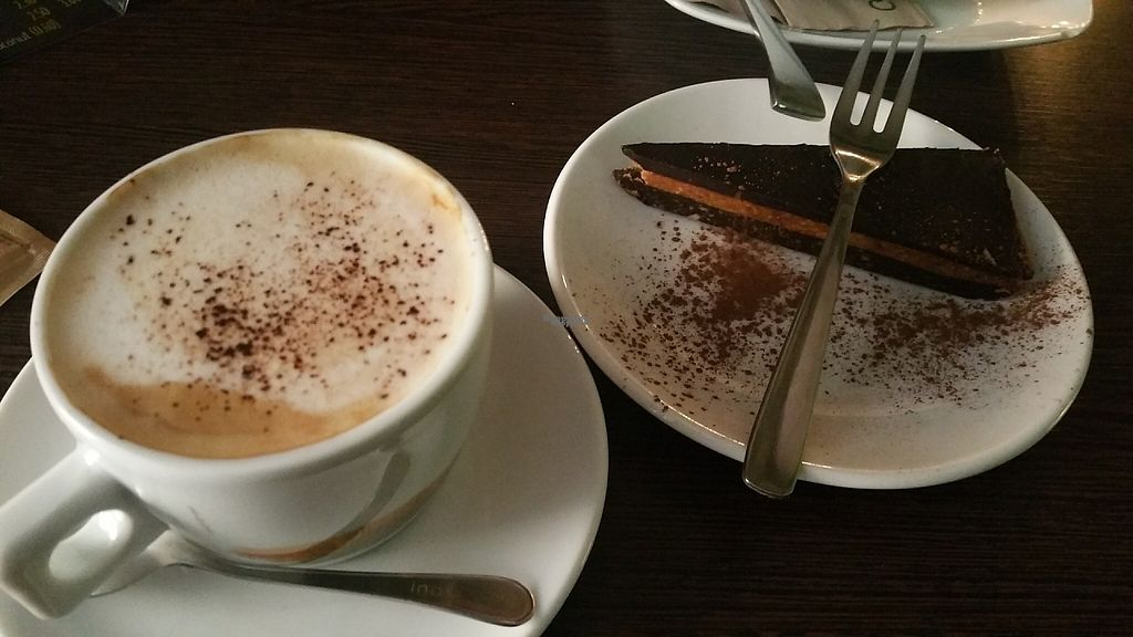 """Photo of CLOSED: The Grassy Hopper   by <a href=""""/members/profile/Rosa%20veg"""">Rosa veg</a> <br/>Vegan cake and cappuccino  <br/> April 24, 2017  - <a href='/contact/abuse/image/59283/251785'>Report</a>"""