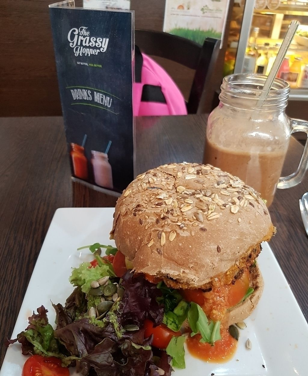 """Photo of CLOSED: The Grassy Hopper   by <a href=""""/members/profile/Rachaelm"""">Rachaelm</a> <br/>sweet potato /black bean burger  <br/> June 5, 2017  - <a href='/contact/abuse/image/59283/266016'>Report</a>"""