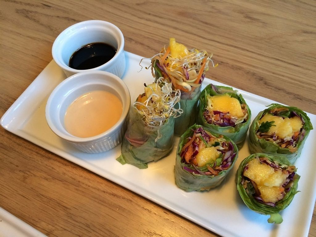 """Photo of simpleRAW  by <a href=""""/members/profile/LisaCupcake"""">LisaCupcake</a> <br/>Summer rolls (or spring rolls, but not fried), called """"rice paper"""" in the menu. These ones were the mango variant <br/> January 5, 2017  - <a href='/contact/abuse/image/59290/208376'>Report</a>"""