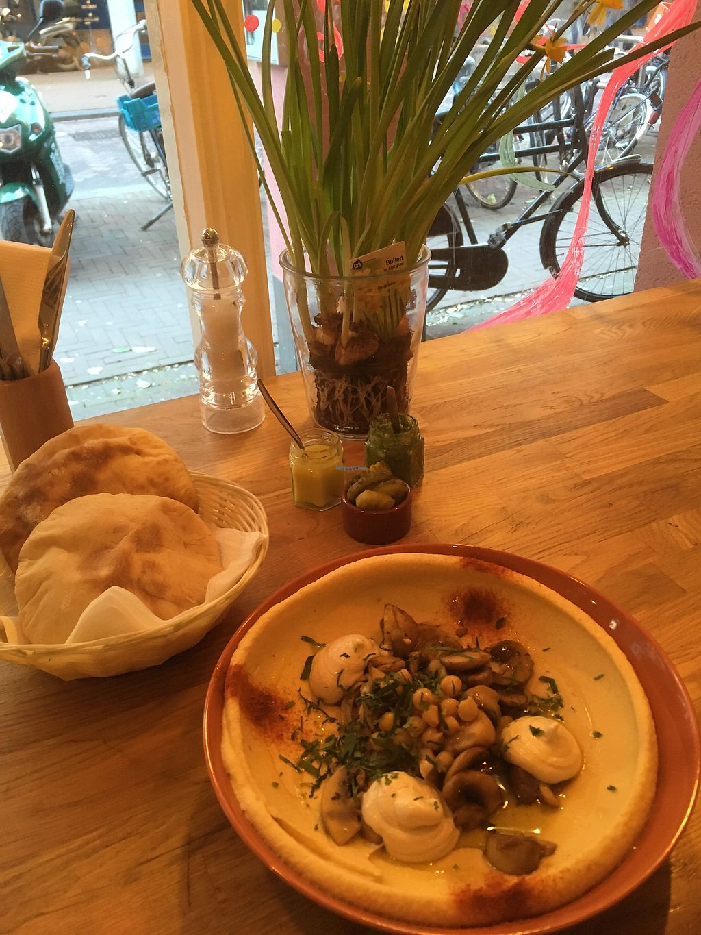 """Photo of De Hummus House - Sint Antoniesbreestraat  by <a href=""""/members/profile/annasdrive"""">annasdrive</a> <br/>Classic hummus with homemade pita <br/> March 21, 2018  - <a href='/contact/abuse/image/59292/373809'>Report</a>"""