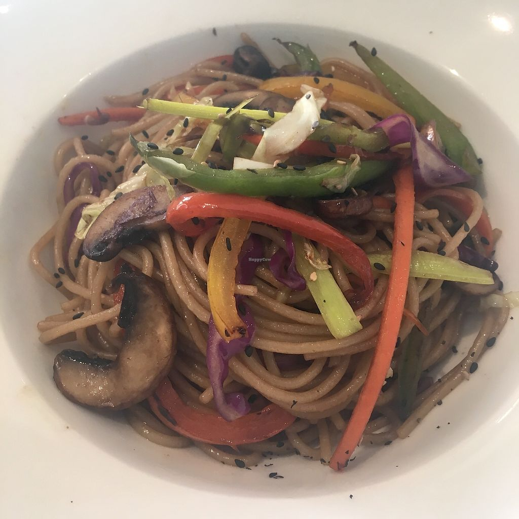 """Photo of Fang i Aram  by <a href=""""/members/profile/IrynaK"""">IrynaK</a> <br/>Vegan wok dish €11.95 (noodles, vegetables, portobello mushrooms, soy sauce and ginger oil) <br/> July 4, 2017  - <a href='/contact/abuse/image/59294/276563'>Report</a>"""