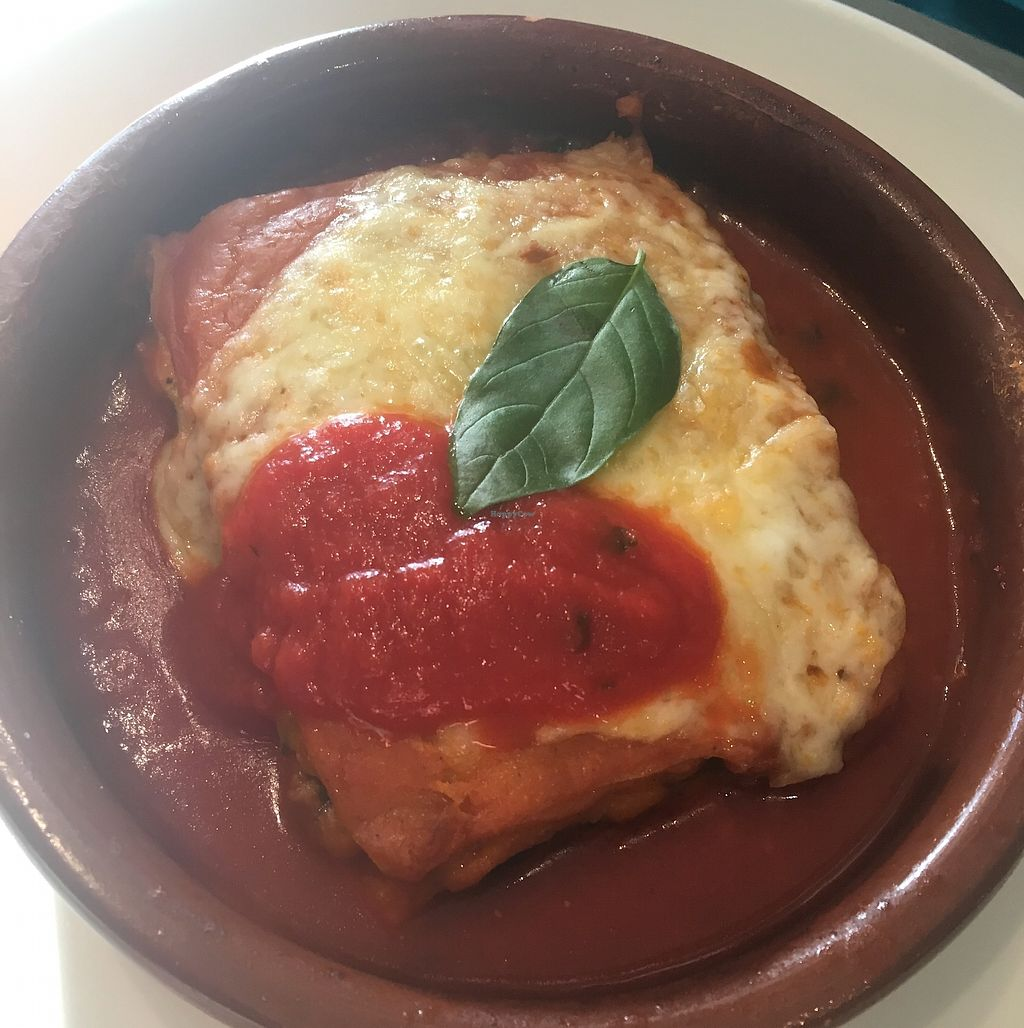"""Photo of Fang i Aram  by <a href=""""/members/profile/IrynaK"""">IrynaK</a> <br/>Vegetarian lasagna €12.50 (spinach, Quorn, four cheeses and tomato sauce with basil) <br/> July 4, 2017  - <a href='/contact/abuse/image/59294/276564'>Report</a>"""