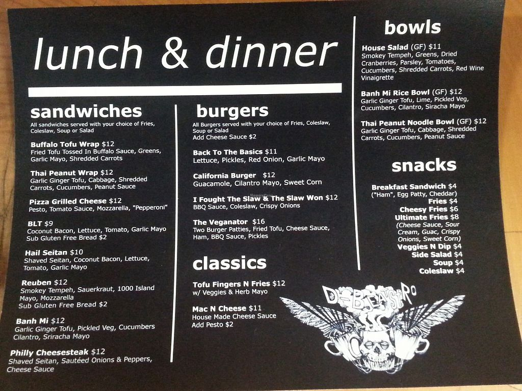 """Photo of REMOVED: D-Beatstro  by <a href=""""/members/profile/Vegan%20GiGi"""">Vegan GiGi</a> <br/>Recently updated lunch and dinner menu at D-Beatstro <br/> May 9, 2017  - <a href='/contact/abuse/image/59326/257241'>Report</a>"""