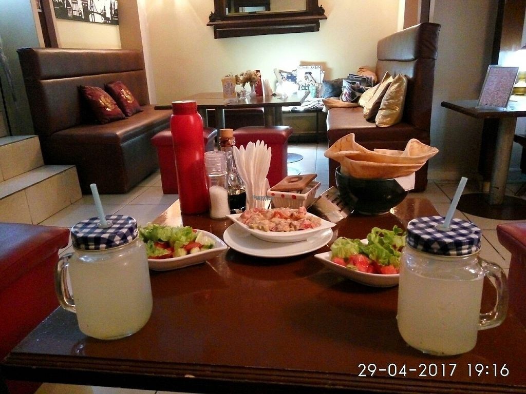 """Photo of Falafel Zone  by <a href=""""/members/profile/MarsiaMS"""">MarsiaMS</a> <br/>salads, baba ghanoush and lemonade <br/> April 30, 2017  - <a href='/contact/abuse/image/59335/254065'>Report</a>"""