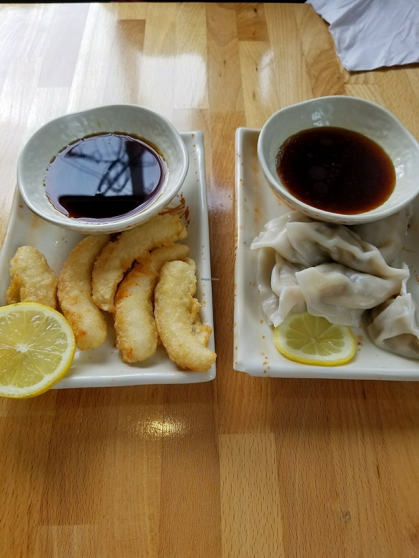 "Photo of Sushiana  by <a href=""/members/profile/tikhonova87"">tikhonova87</a> <br/>mock shrimp tempura and veggie dumplings <br/> July 23, 2017  - <a href='/contact/abuse/image/59351/283816'>Report</a>"