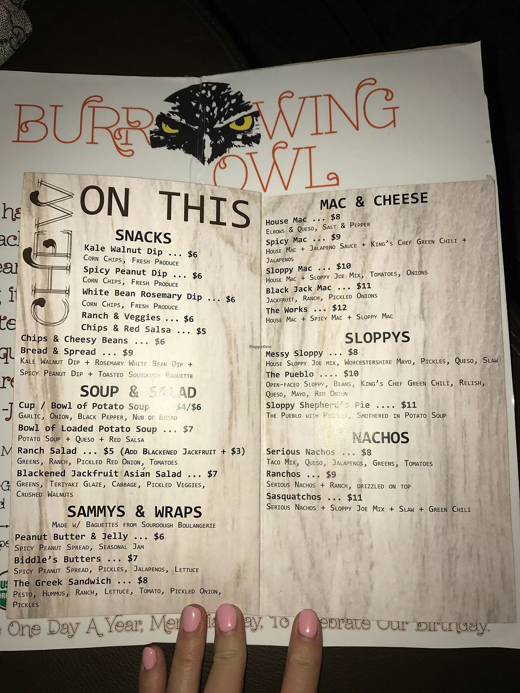 """Photo of The Burrowing Owl Lounge  by <a href=""""/members/profile/Remerson13"""">Remerson13</a> <br/>Menu <br/> July 7, 2017  - <a href='/contact/abuse/image/59373/277522'>Report</a>"""