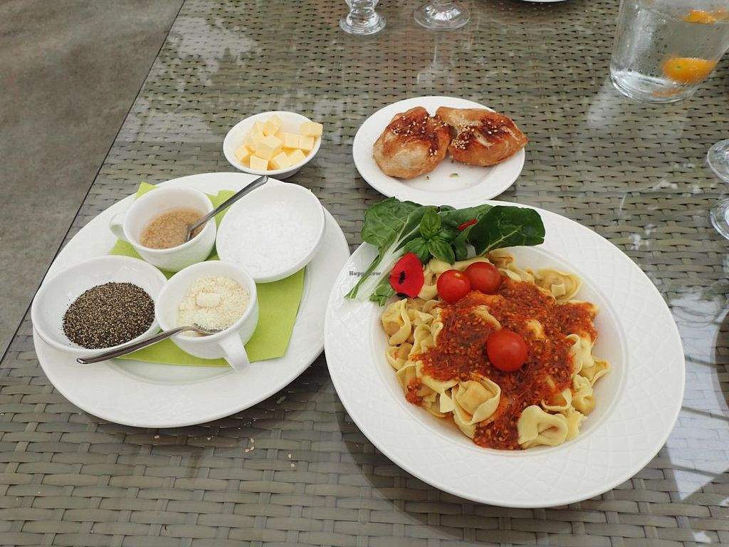 """Photo of Fridheimar  by <a href=""""/members/profile/Solaron"""">Solaron</a> <br/>Fresh tomato based tortellini pasta, fresh bread, seasonings. Not shown, cucumber salad.  <br/> June 14, 2015  - <a href='/contact/abuse/image/59378/105928'>Report</a>"""