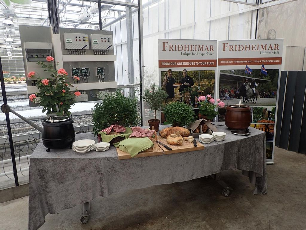 """Photo of Fridheimar  by <a href=""""/members/profile/Solaron"""">Solaron</a> <br/>Fresh Soup and Bread Table. The temperature, lighting and watering controls are behind the table. The germination greenhouse is in the background <br/> June 14, 2015  - <a href='/contact/abuse/image/59378/105929'>Report</a>"""