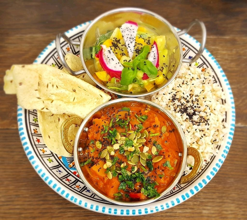"Photo of Ahimsa Vegan Restaurant and Club  by <a href=""/members/profile/RoseVonVegan"">RoseVonVegan</a> <br/>dish of the day - a nice curry, with a savory fruit salad, rice, and papadams <br/> October 2, 2017  - <a href='/contact/abuse/image/59379/311049'>Report</a>"