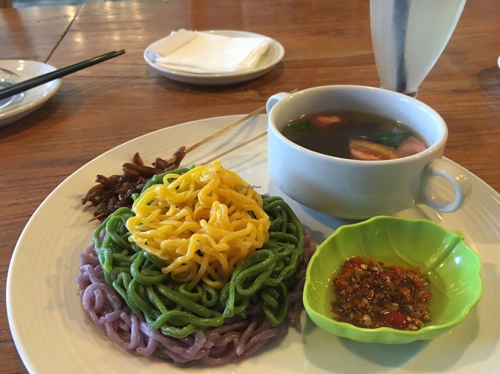 """Photo of CLOSED: Mai3 Cafe and Resto Vegan  by <a href=""""/members/profile/shadowofsparks"""">shadowofsparks</a> <br/>3 coloured Tom yam noodle <br/> March 20, 2016  - <a href='/contact/abuse/image/59381/140654'>Report</a>"""