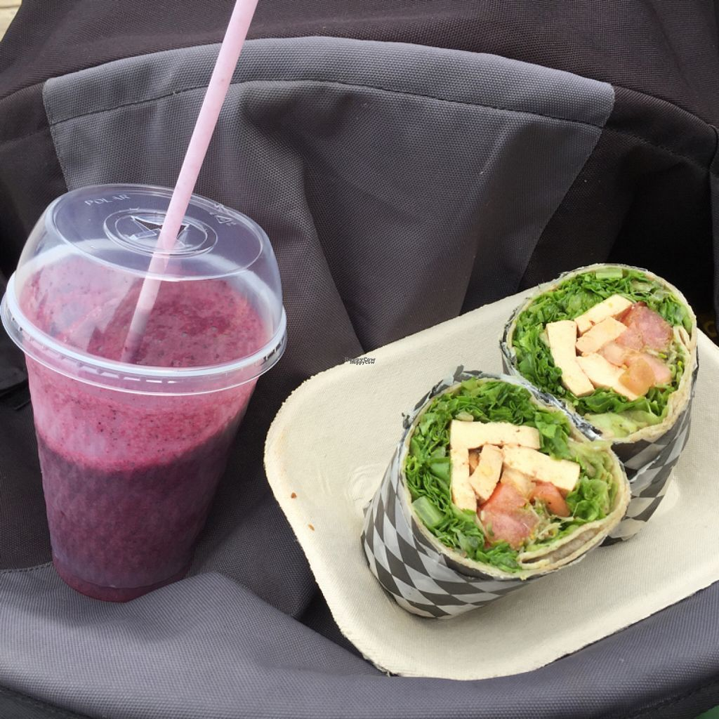 """Photo of Heartwood by the Sea  by <a href=""""/members/profile/Tikiwi"""">Tikiwi</a> <br/>blueberry/banana/pomegranate shake and TLT wrap <br/> August 11, 2016  - <a href='/contact/abuse/image/59382/167789'>Report</a>"""