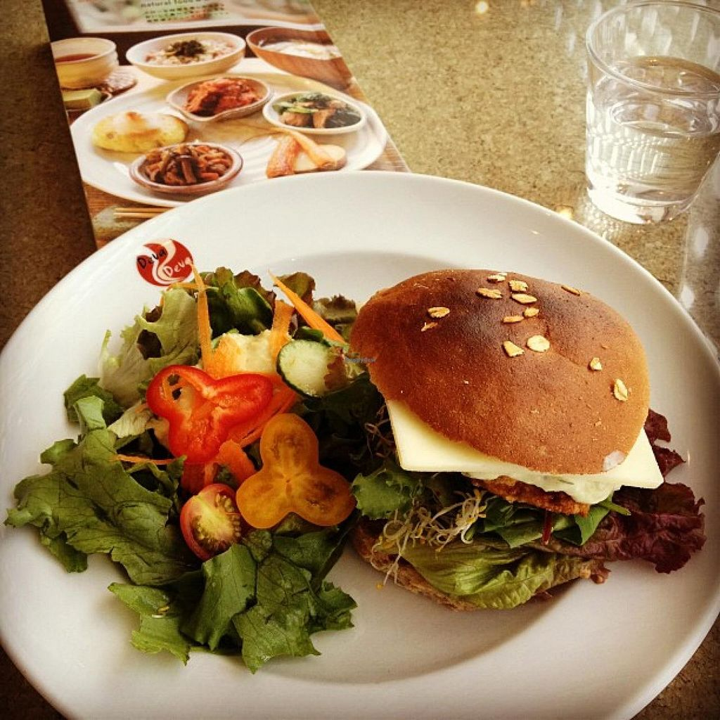 """Photo of DevaDeva Cafe  by <a href=""""/members/profile/umebossy"""">umebossy</a> <br/>Vegetarian 'chicken' cheese burger with salad <br/> March 8, 2014  - <a href='/contact/abuse/image/5939/65525'>Report</a>"""