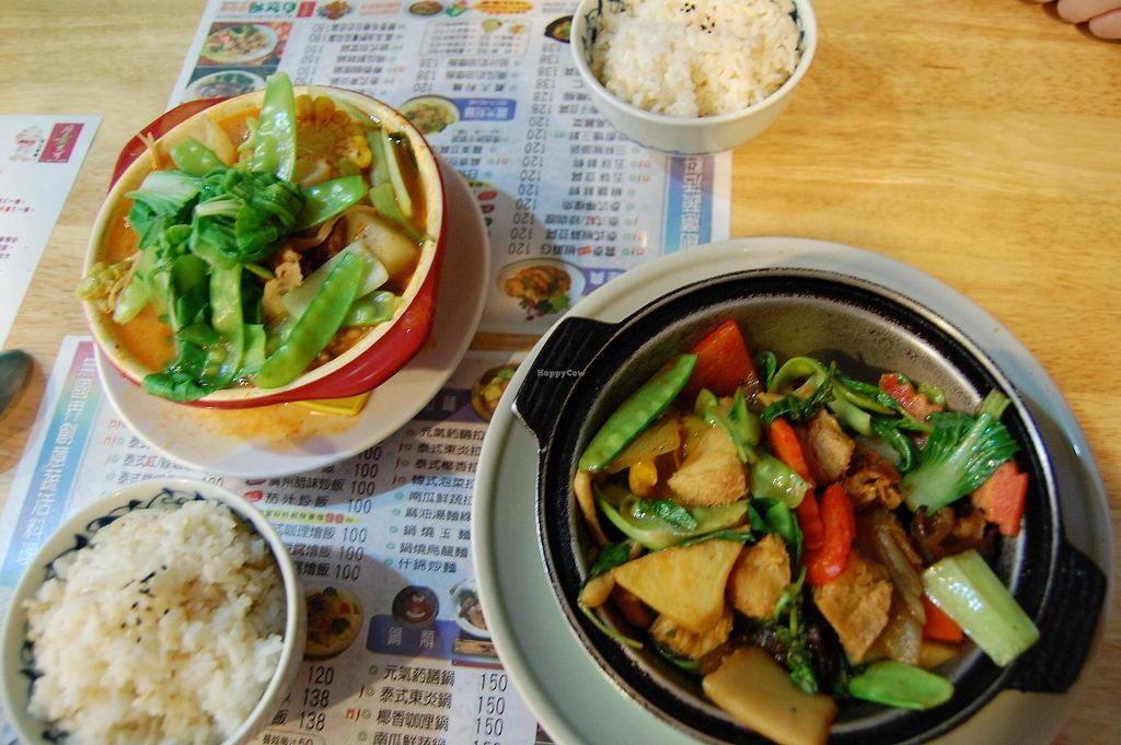"Photo of Joy-Veggie - Xindian  by <a href=""/members/profile/na_kueng"">na_kueng</a> <br/>Vegan mushroom stew and Thai curry <br/> June 14, 2015  - <a href='/contact/abuse/image/59404/322466'>Report</a>"