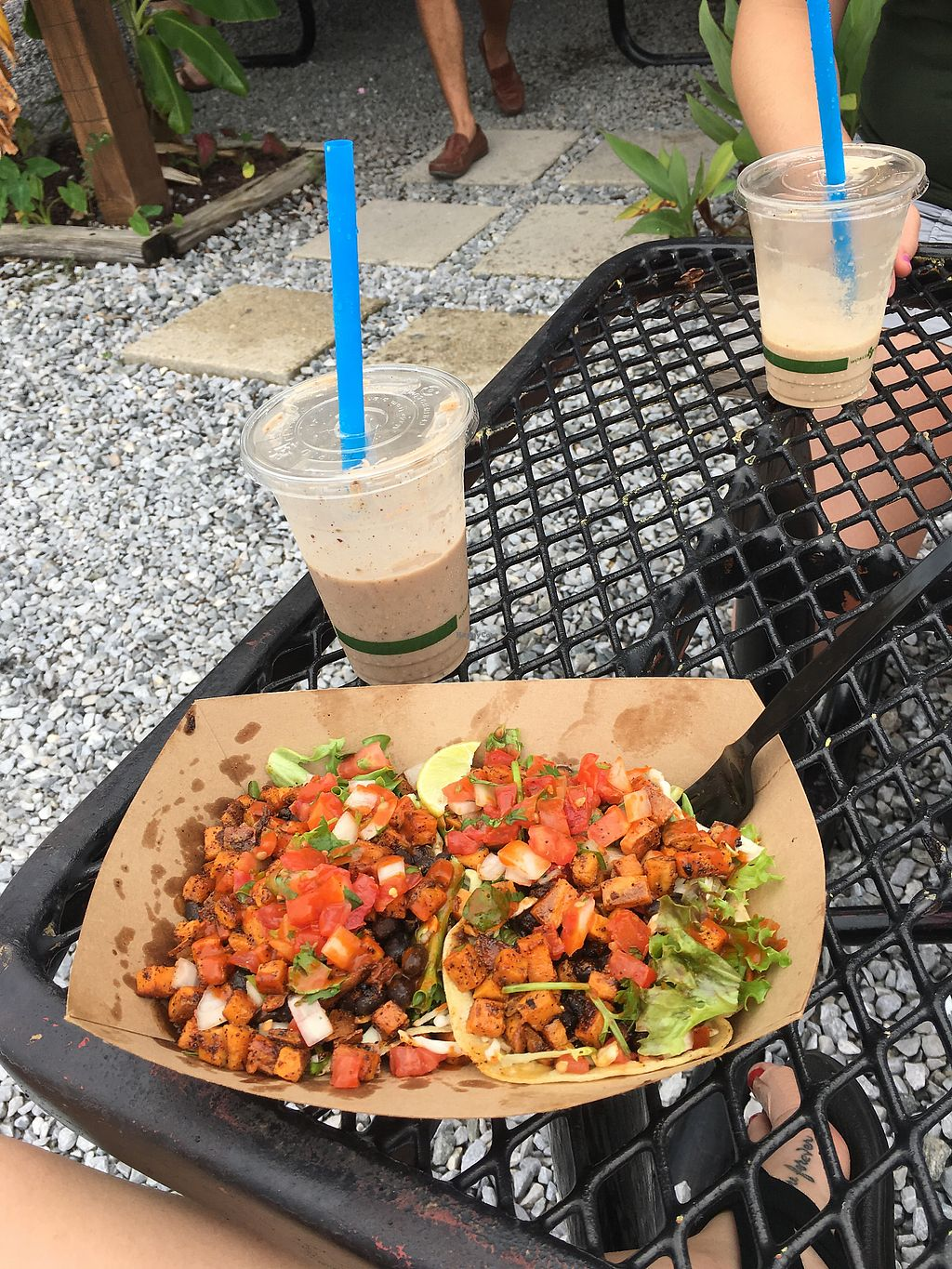 "Photo of Finn's Island Style Grub  by <a href=""/members/profile/Kirstinaureal"">Kirstinaureal</a> <br/>veggie tacos no white sauce  <br/> July 29, 2017  - <a href='/contact/abuse/image/59446/286342'>Report</a>"