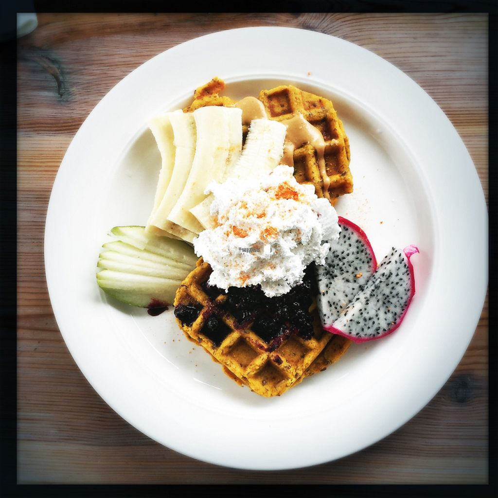 """Photo of Think Love Juices & Vegan Food  by <a href=""""/members/profile/matterandrew"""">matterandrew</a> <br/>Sweet potato waffles <br/> April 9, 2017  - <a href='/contact/abuse/image/59473/246143'>Report</a>"""
