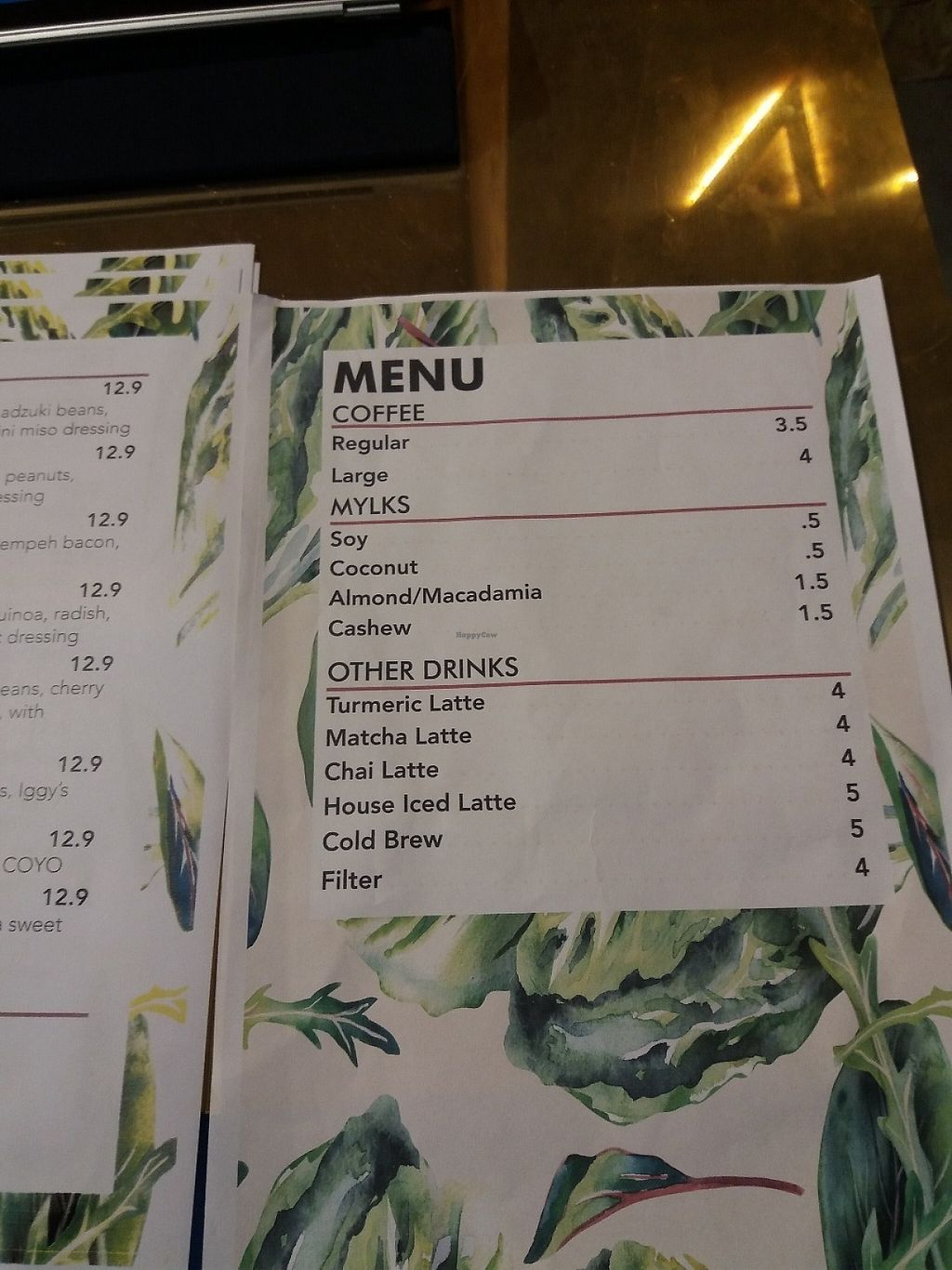 "Photo of CLOSED: VERD Kent Street  by <a href=""/members/profile/veganvirtues"">veganvirtues</a> <br/>Drinks menu <br/> May 16, 2017  - <a href='/contact/abuse/image/59556/259224'>Report</a>"