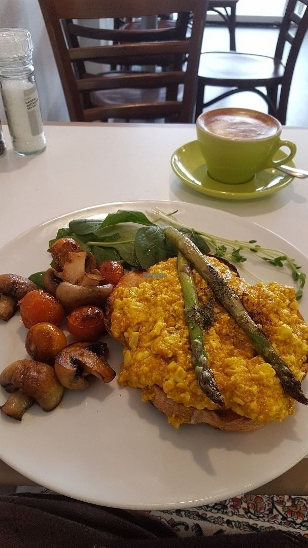 """Photo of Michelle's Cafe  by <a href=""""/members/profile/LoraineWatsonFox"""">LoraineWatsonFox</a> <br/>Scrambled tofu (listed as Vegan Scrambled Egg). Absolutely delish! and a first for Toowoomba.  <br/> September 21, 2016  - <a href='/contact/abuse/image/59578/177056'>Report</a>"""