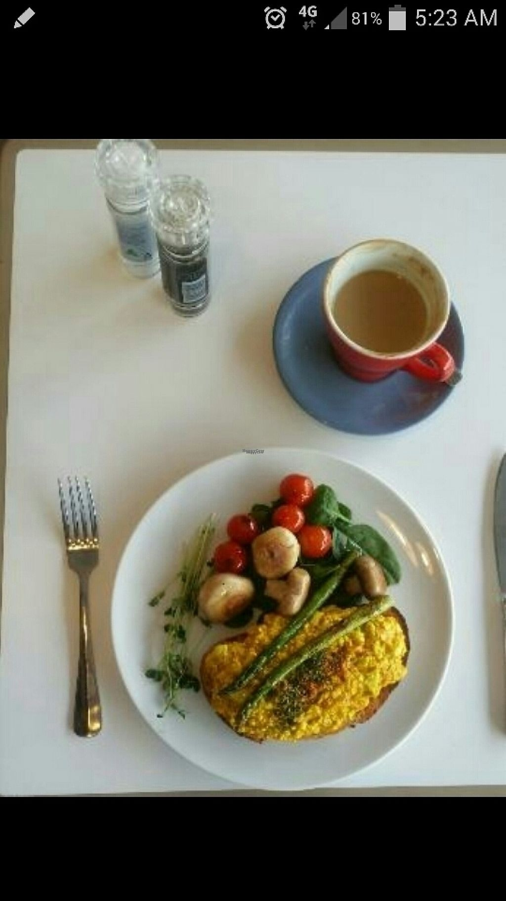"""Photo of Michelle's Cafe  by <a href=""""/members/profile/Mike%20Munsie"""">Mike Munsie</a> <br/>scrambled tofu & soy latte <br/> April 22, 2017  - <a href='/contact/abuse/image/59578/251175'>Report</a>"""