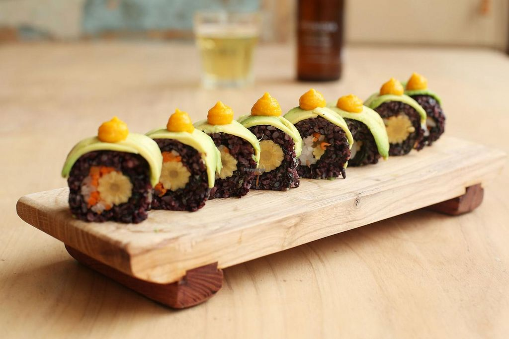 """Photo of CLOSED: Superfood Sushi  by <a href=""""/members/profile/SuperfoodSushi"""">SuperfoodSushi</a> <br/>Saigon Pickle Sushi Roll Forbidden Black rice packed with Vietnamese pickled Carrot and Daikon, Baby Corn and Avocado. Sauce- carrot and ginger <br/> July 18, 2015  - <a href='/contact/abuse/image/59593/109842'>Report</a>"""