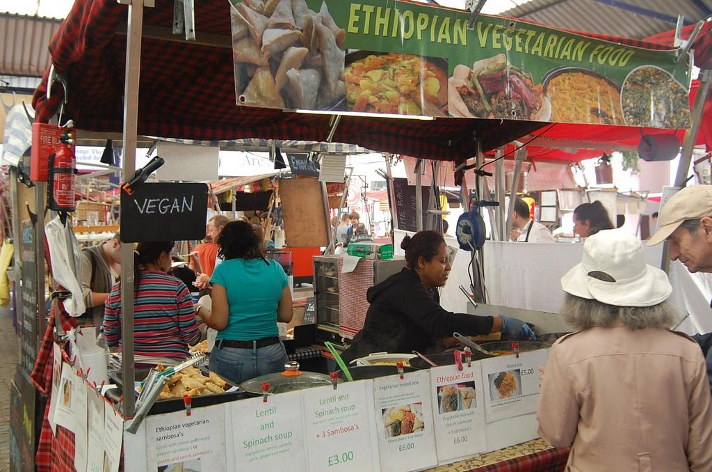 """Photo of Ethiopian Vegetarian Food Stall  by <a href=""""/members/profile/Clare"""">Clare</a> <br/>Vegan Hot Food  <br/> June 18, 2015  - <a href='/contact/abuse/image/59602/106463'>Report</a>"""