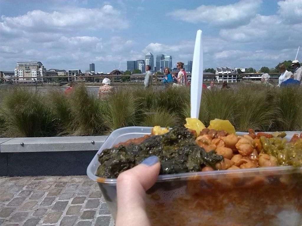 """Photo of Ethiopian Vegetarian Food Stall  by <a href=""""/members/profile/Clare"""">Clare</a> <br/>Mixed box with rice by the River Thames. Comforting and tasty. Spiced up with Red and Green Chilli sauces <br/> June 18, 2015  - <a href='/contact/abuse/image/59602/106464'>Report</a>"""