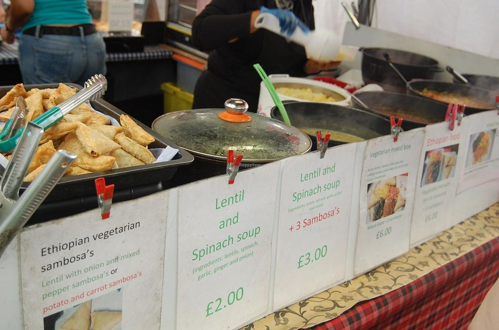 """Photo of Ethiopian Vegetarian Food Stall  by <a href=""""/members/profile/Clare"""">Clare</a> <br/>Sambosas and hot dishes. Tasty and cruelty-free food in Greenwich <br/> June 18, 2015  - <a href='/contact/abuse/image/59602/106466'>Report</a>"""