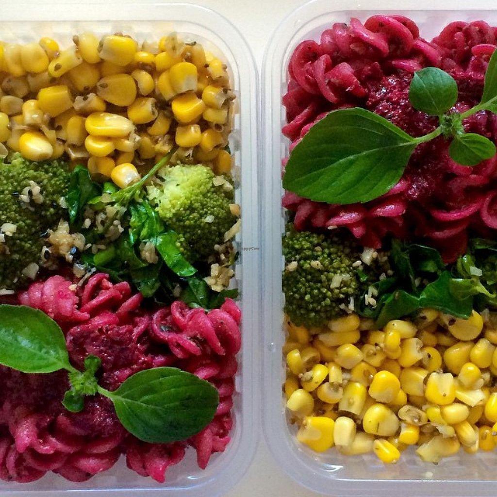 Photo of Viva la Veggie  by Viva la Veggie <br/>Ready frozen meal: pasta with beets pesto, garlic broccoli and sauteed corn <br/> July 8, 2015  - <a href='/contact/abuse/image/59685/108543'>Report</a>