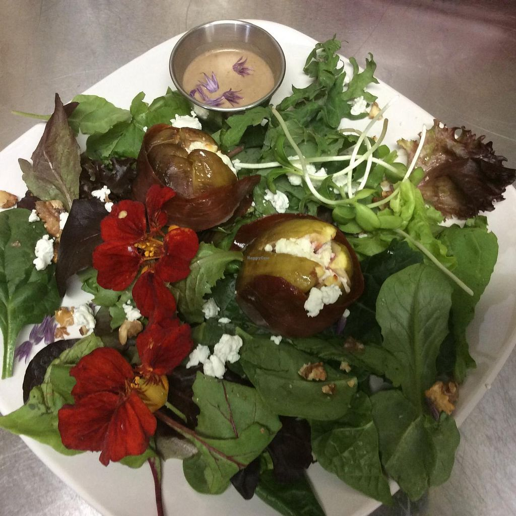 "Photo of CLOSED: The Pearl Cafe  by <a href=""/members/profile/KarenMcSwain"">KarenMcSwain</a> <br/>Prosciutto-wrapped, goat cheese-stuffed roasted fig salad over local greens <br/> June 20, 2015  - <a href='/contact/abuse/image/59686/106657'>Report</a>"