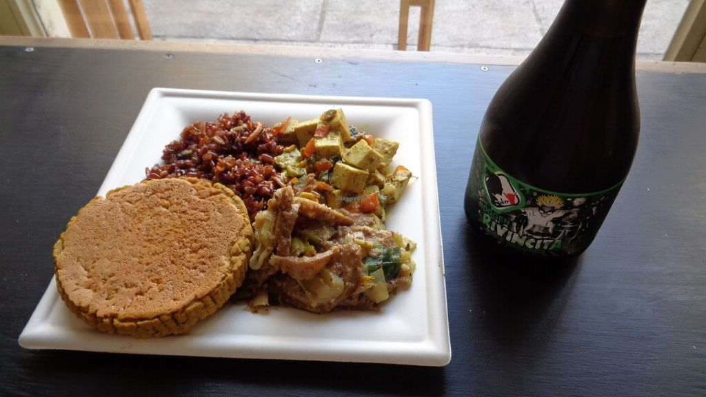 """Photo of Mangia la Foglia Bio   by <a href=""""/members/profile/theexternvoid"""">theexternvoid</a> <br/>A lunch: lentil burger, herb red rice, tofu in an herb / veggie sauce, seitan with creamy onions, and an organic red ale beer <br/> September 23, 2017  - <a href='/contact/abuse/image/59710/307579'>Report</a>"""