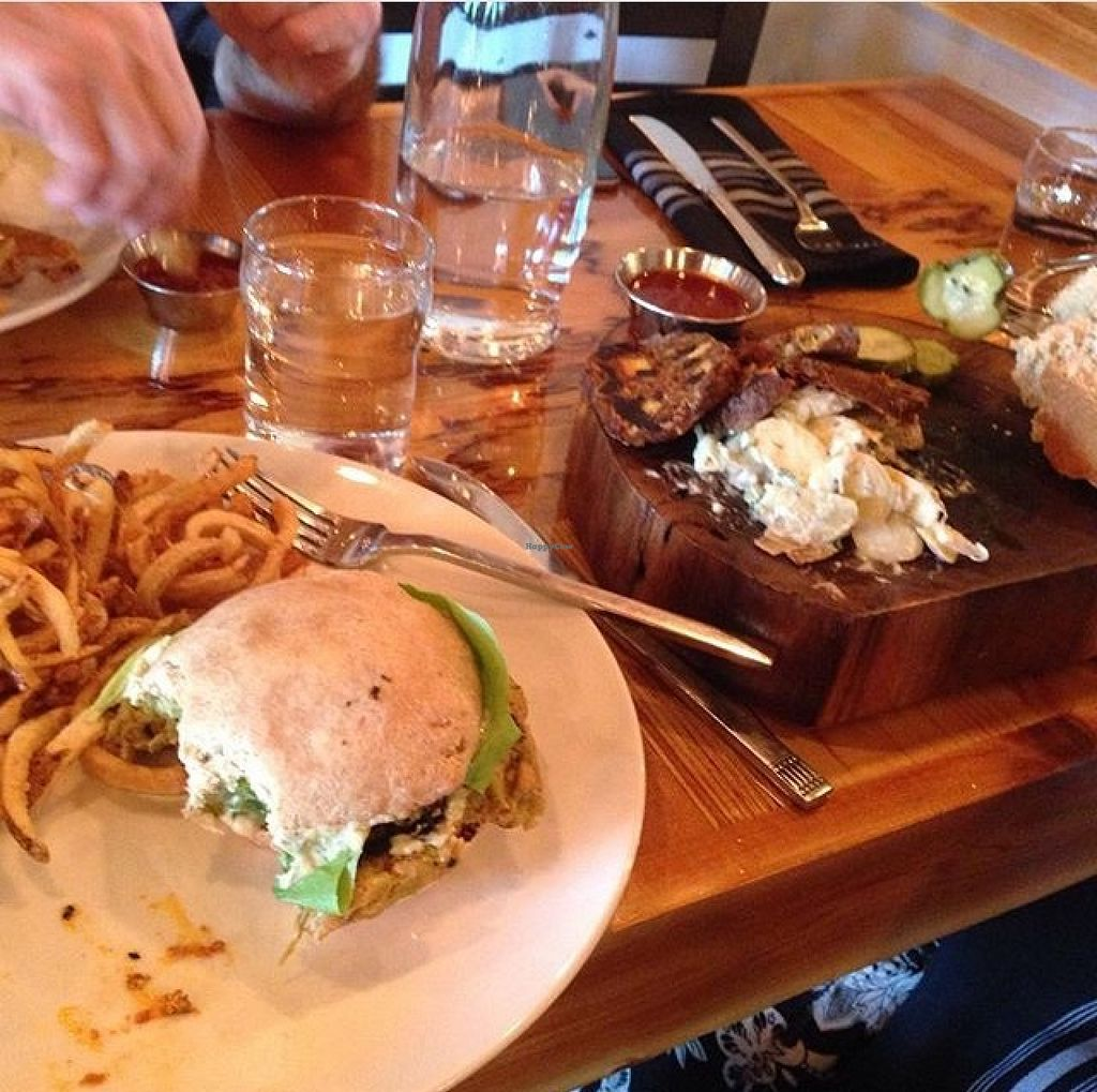 "Photo of Crooked Ewe Brewery and Ale House  by <a href=""/members/profile/Stephrose"">Stephrose</a> <br/>Vurger and smoked brisket seitan with potato salad with house made mayo <br/> July 27, 2015  - <a href='/contact/abuse/image/59808/111244'>Report</a>"