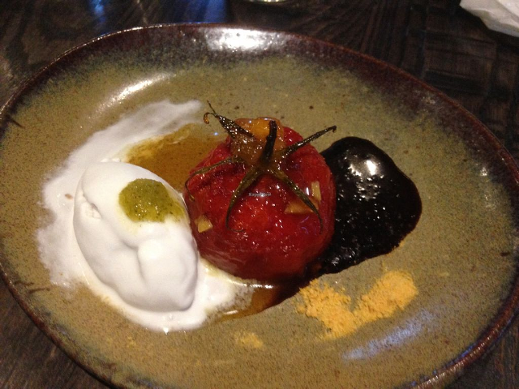 """Photo of Town Tonic  by <a href=""""/members/profile/Yolanda"""">Yolanda</a> <br/>vegan tomato and ice cream dessert at town tonic <br/> April 26, 2016  - <a href='/contact/abuse/image/59834/146394'>Report</a>"""