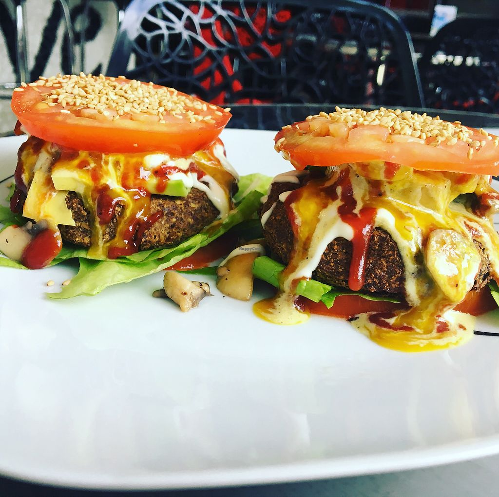 """Photo of Purolove Vegan Gourmet  by <a href=""""/members/profile/analavegana"""">analavegana</a> <br/>Bunless veggie burgers <br/> October 7, 2017  - <a href='/contact/abuse/image/59863/312836'>Report</a>"""