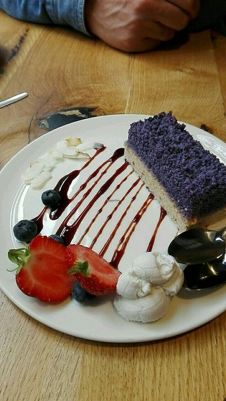"""Photo of Henderson's Vegan  by <a href=""""/members/profile/highlandpotato"""">highlandpotato</a> <br/>blueberry cheesecake <br/> July 21, 2017  - <a href='/contact/abuse/image/59873/282987'>Report</a>"""