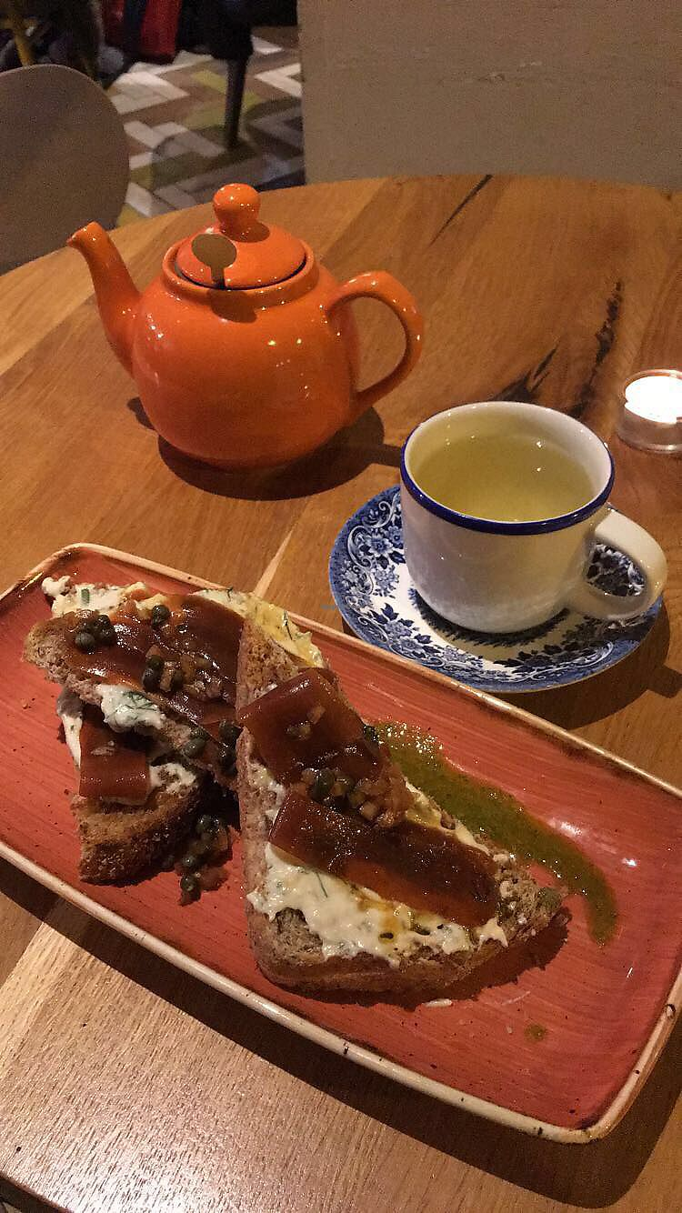 """Photo of Henderson's Vegan  by <a href=""""/members/profile/BecCarter"""">BecCarter</a> <br/>Cured Carrot Bruschetta w/ Ginger Tea <br/> January 15, 2018  - <a href='/contact/abuse/image/59873/346922'>Report</a>"""