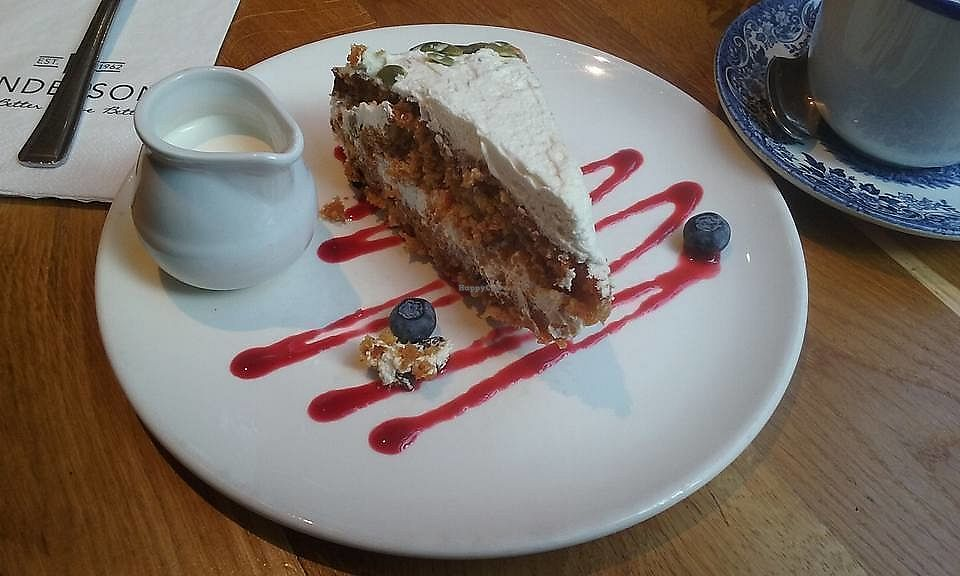 """Photo of Henderson's Vegan  by <a href=""""/members/profile/MaureenVSI"""">MaureenVSI</a> <br/>Vegan carrot cake. Looks pretty but it didn't stay on the plate for long, lol <br/> February 7, 2018  - <a href='/contact/abuse/image/59873/356114'>Report</a>"""
