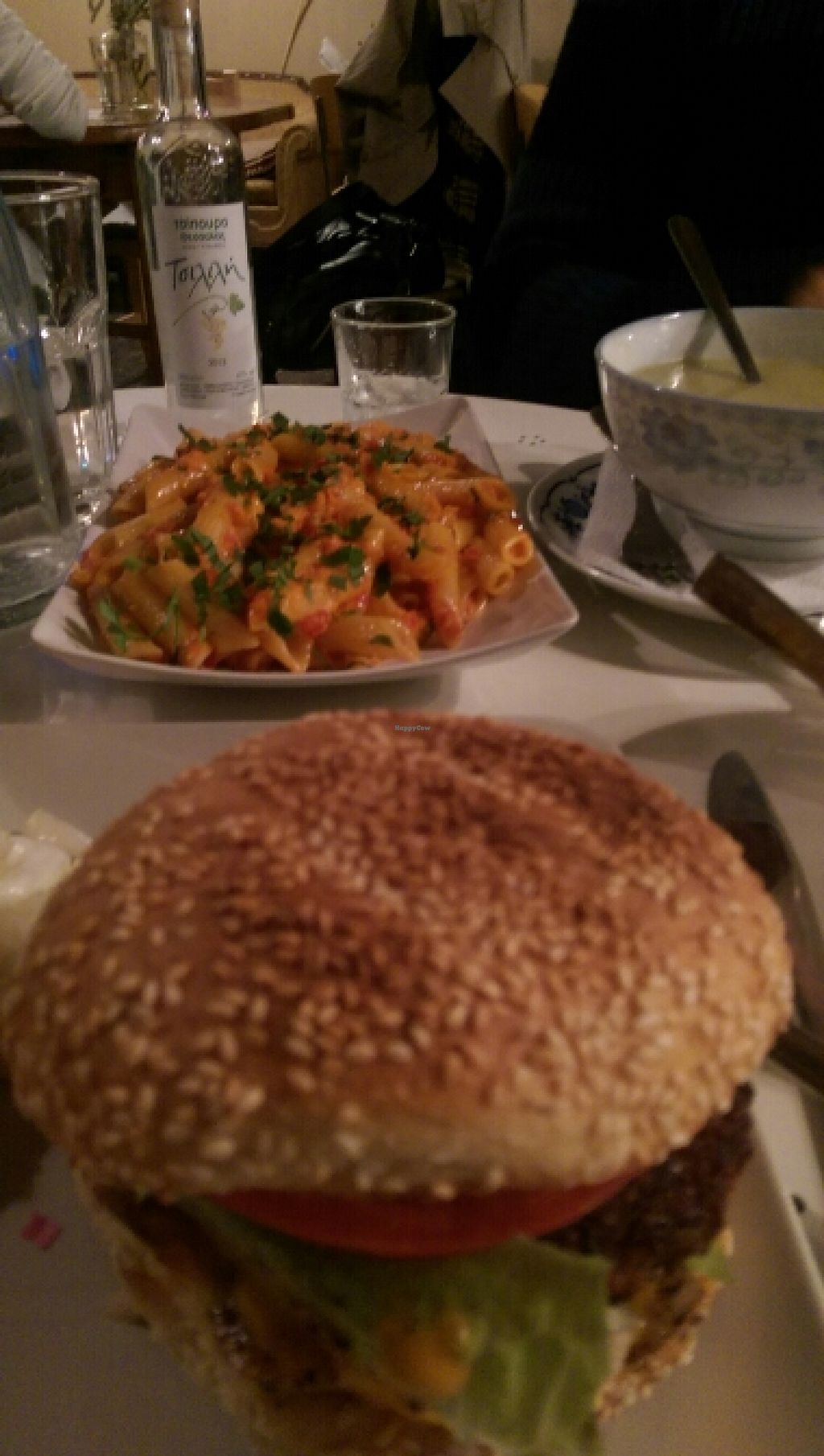 "Photo of Nonna  by <a href=""/members/profile/zabeth"">zabeth</a> <br/>vegan burger, penne tomato pesto, veggie soup <br/> October 25, 2015  - <a href='/contact/abuse/image/59899/122683'>Report</a>"