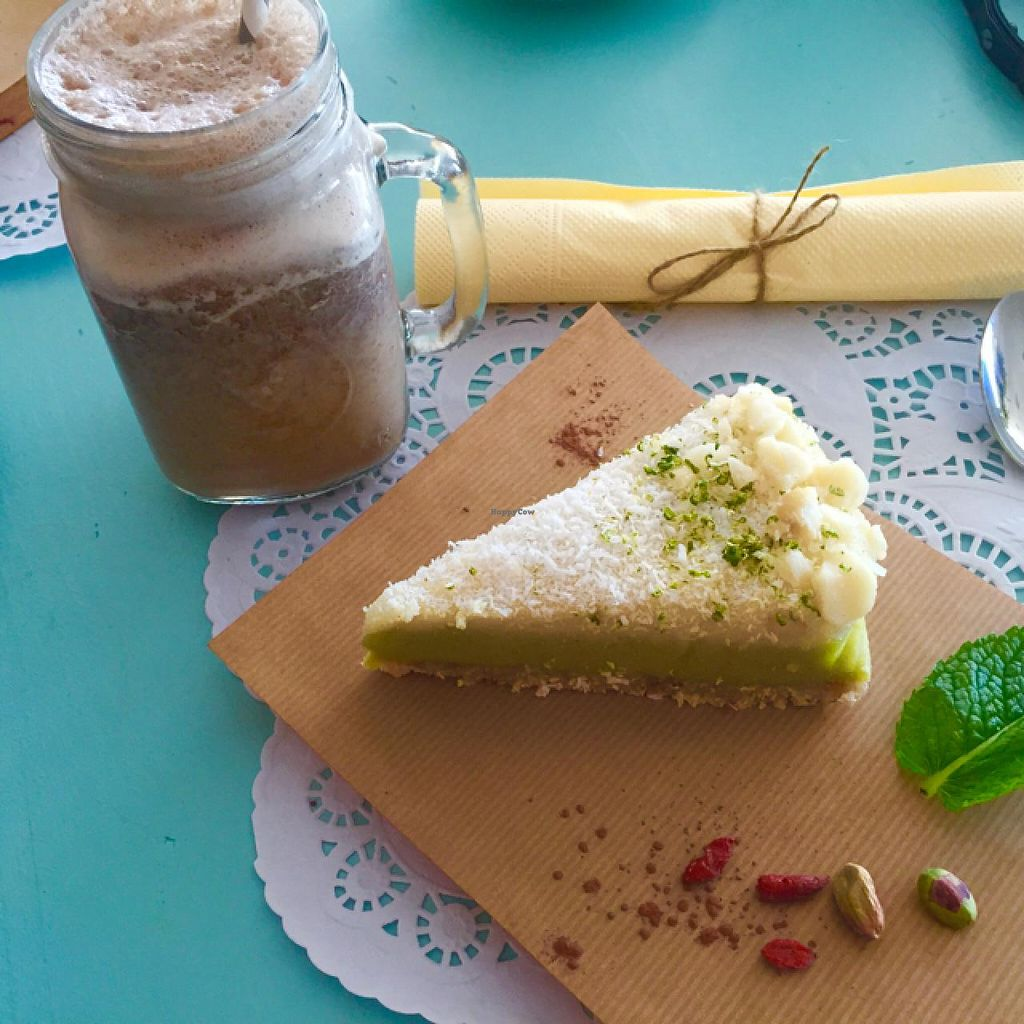 """Photo of Organic Market and Food  by <a href=""""/members/profile/Borcher"""">Borcher</a> <br/>raw & Vegan Lemon cake + carob shake <br/> June 26, 2015  - <a href='/contact/abuse/image/59913/107348'>Report</a>"""