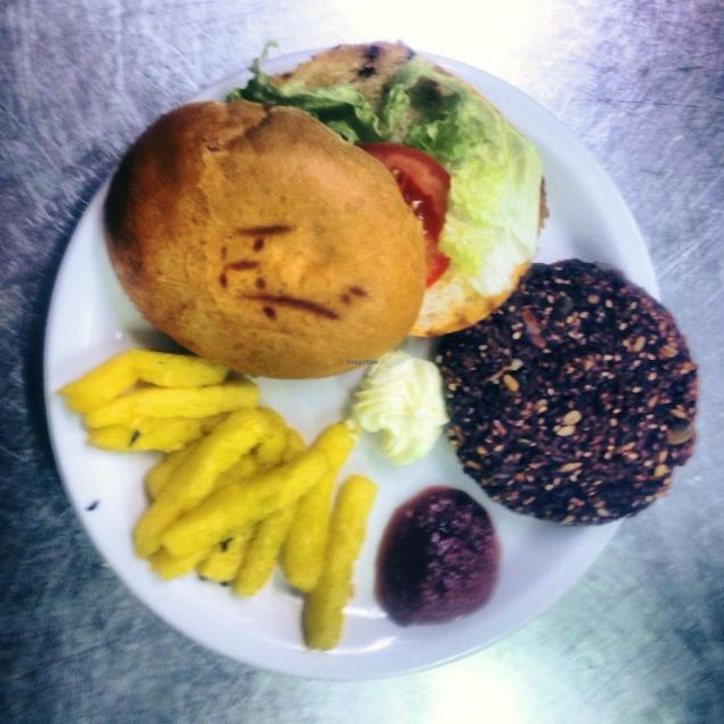 """Photo of VegBistrot  by <a href=""""/members/profile/RacheleTarsi"""">RacheleTarsi</a> <br/>Our veggie burger! <br/> June 25, 2015  - <a href='/contact/abuse/image/59924/107272'>Report</a>"""