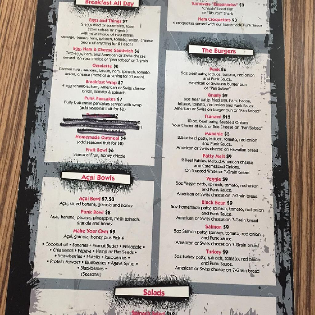 """Photo of Punk Burger Bar Bistro  by <a href=""""/members/profile/HappyHeart"""">HappyHeart</a> <br/>menu <br/> June 26, 2015  - <a href='/contact/abuse/image/59926/107331'>Report</a>"""