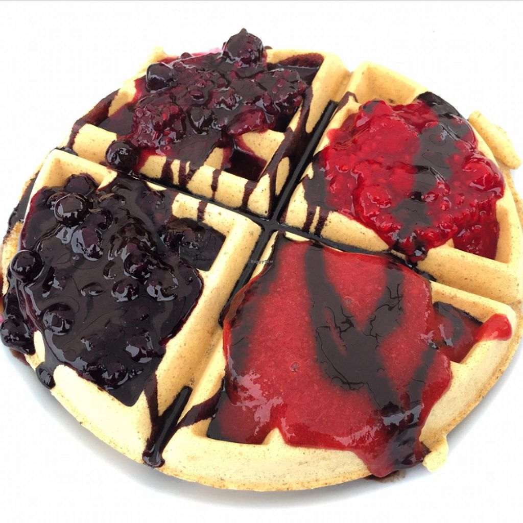 """Photo of St John's Farmers Market  by <a href=""""/members/profile/scallen"""">scallen</a> <br/>vegan waffle w strawberry, raspberry, mixed berry & blueberry jams and vegan chocolate sauce from WaffleLadyNl <br/> June 27, 2015  - <a href='/contact/abuse/image/59970/107467'>Report</a>"""